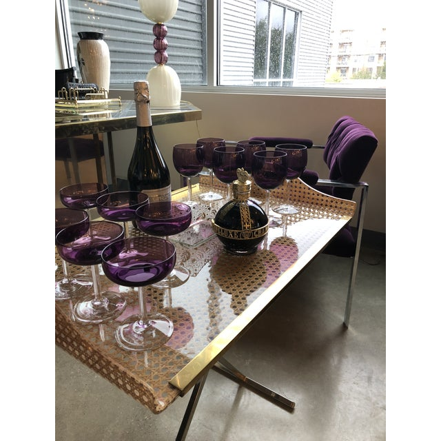 Mid Century Modern Gabriella Crespi Style for Dior Home Resin Covered Wicker & Brass Butler's Tray on Chrome Stand - Image 12 of 12