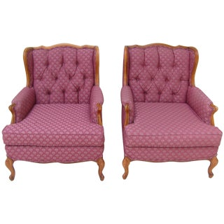 Vintage French Bergere Wingback Chairs - A Pair