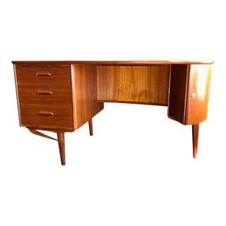 Vintage Danish Teak Kai Kristiansen Shaped Desk W/Storage For Sale