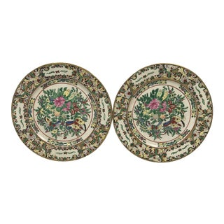 Early 1900s Famille Decorative Plates, a Pair For Sale