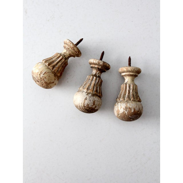 Antique White Wooden Finials - Set of 3 For Sale - Image 6 of 7