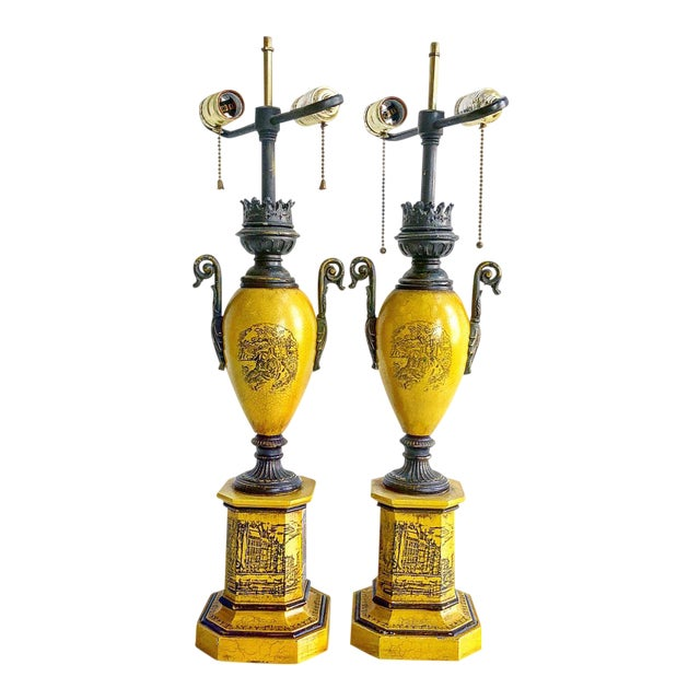 Pair of Vintage Italian Tole Urn Lamps Black & Yellow For Sale