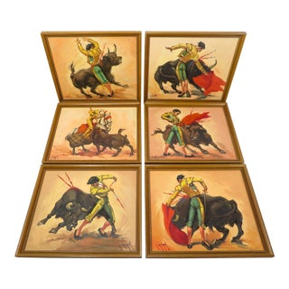 Vintage Spanish Matador Bullfighter Oil Paintings -Set of 6 For Sale