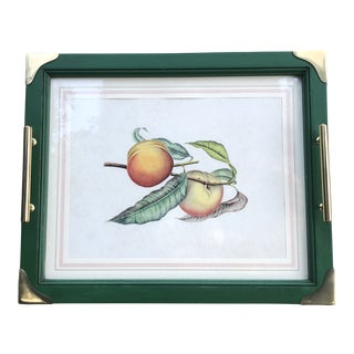 Vintage Italian Hand Colored Peach Print in Painted Wood Tray For Sale