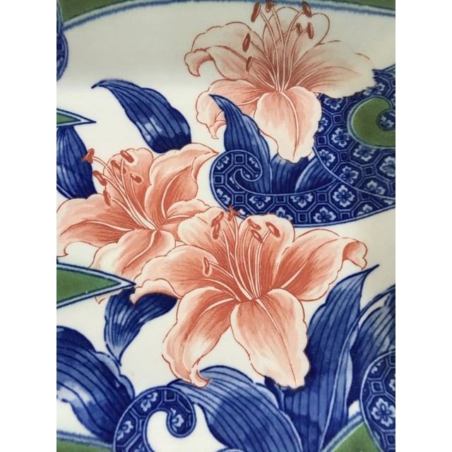 Late 20th Century 20th Century Japanese Toyo Serving Platter in Orchid Motif For Sale - Image 5 of 9
