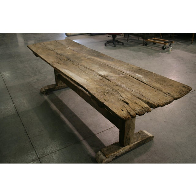 Brown Long Rustic Oak Console or Dining Table For Sale - Image 8 of 9