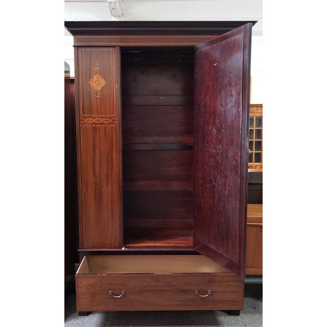 Traditional C. 1915 Mirror Door Inlaid Mahogany Armoire For Sale - Image 3 of 7