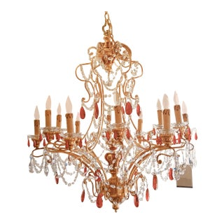 Murano Red Glass Chandelier & Swarvorski Gold Leaf For Sale