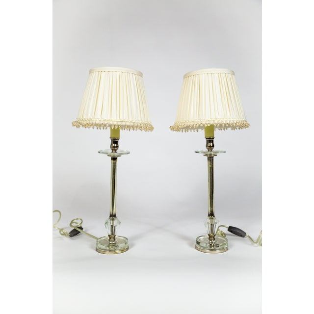 Crystal and Silver Candlestick Lamps (Pair) For Sale - Image 10 of 10