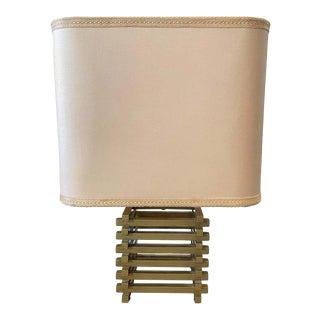 1970s Romeo Rega Mid-Century Modern Brass Italian Squared Table Lamp For Sale