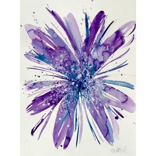"""Botanical Purple Blue 22x30"""" Original Watercolor For Sale"""