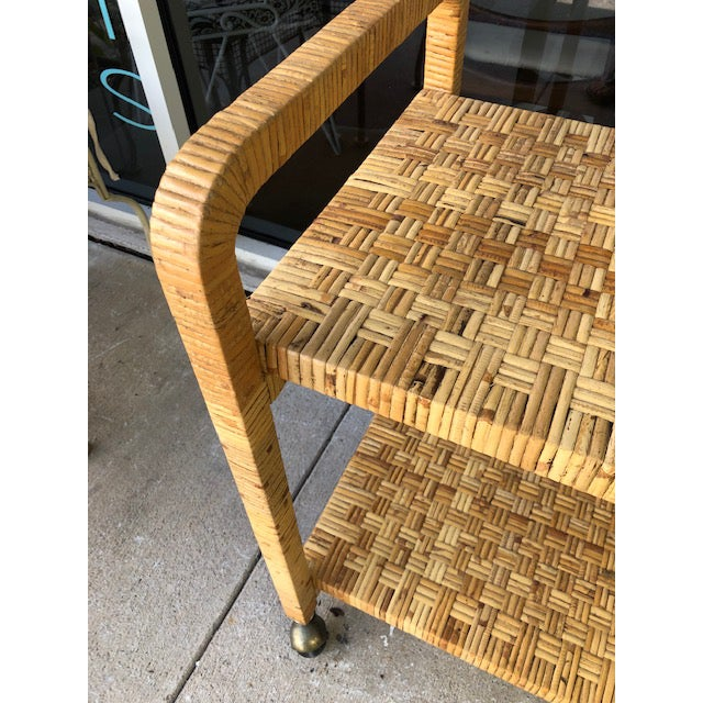 1980s Boho Chic Rattan Bar Cart For Sale - Image 10 of 11