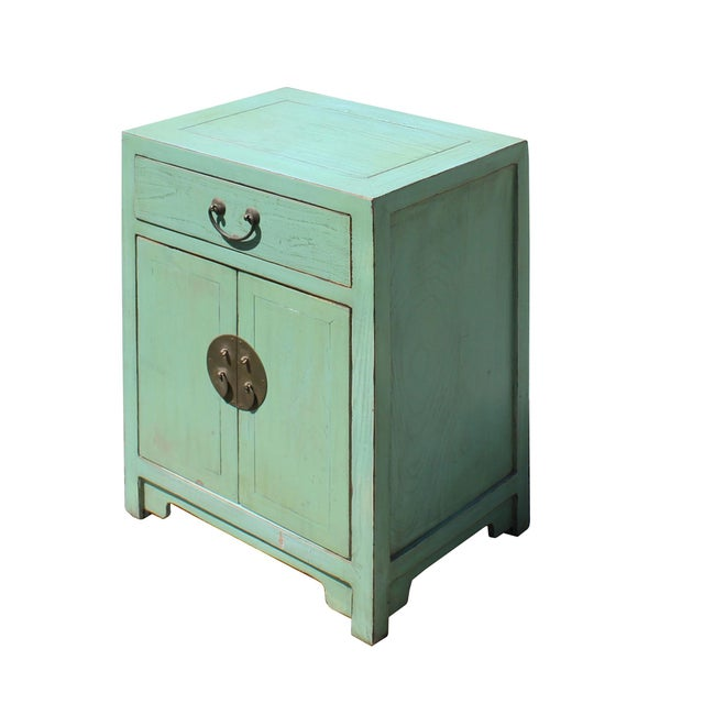 This is a handmade Chinese oriental end table nightstand with a drawer and two doors. The surface is finished with...