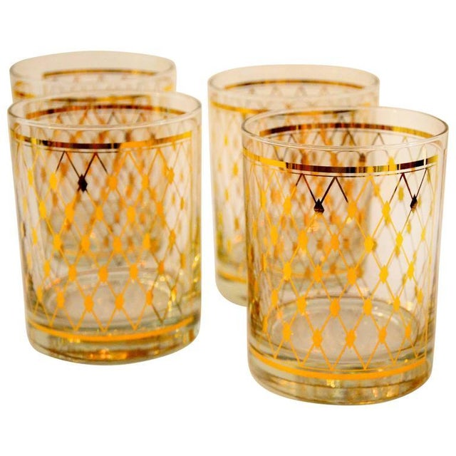 """Set of Four Georges Briard """"Harlequin"""" Pattern Double Old Fashioned Glasses - Image 1 of 4"""