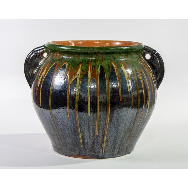Large European Drip Glaze Black Ceramic Pot For Sale - Image 11 of 11