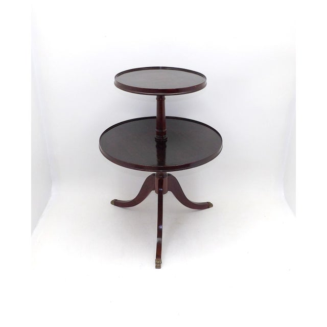 Brown 1945 Mid Century Modern Duncan Phyfe 2 Tiered Round Side Table For Sale - Image 8 of 8