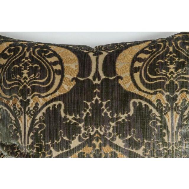 Pair of Luigi Bevilacqua silk velvet pillows with silk trim and silk velvet backing in golds and greens. Featuring Janet...