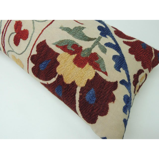 "Asian Vintage Colorful Floral Embroidery ""Suzani"" Decorative Bolster Pillow For Sale - Image 3 of 6"