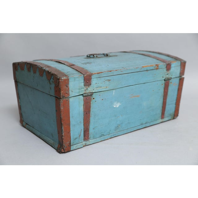 Antique Swedish Chest Strong Box, Lock & Key For Sale - Image 5 of 8