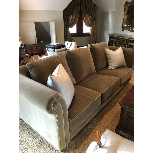 3 Seat Custom Natural Mohair Sofa For Sale In Washington DC - Image 6 of 11