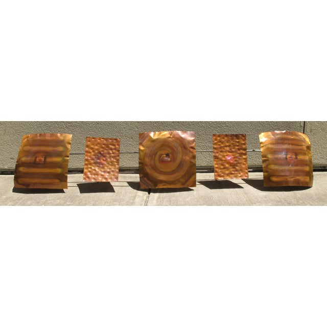 "This is a mid-century Curtis Jere copper wall piece entitled: ""Copper Pillow Single"". The piece still has its original..."