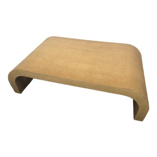 Mid-Century Modern Grass Cloth Waterfall Coffee Table For Sale