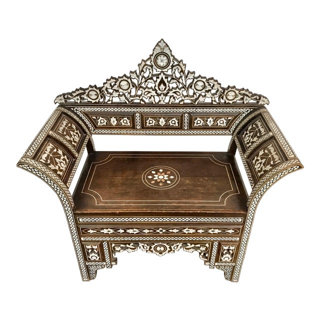 Antique Moroccan Bench With Inlaid Mother of Pearl and Abalone For Sale