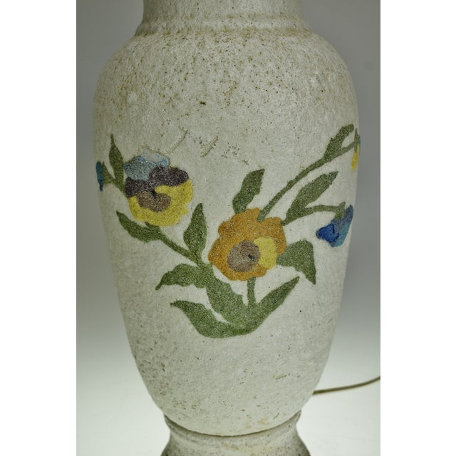 Vintage Large Textured Pottery Table Lamp For Sale - Image 4 of 13