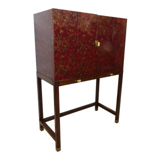 Vintage Henredon Paint Decorated Bar Liquor Cabinet For Sale