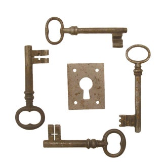 Vintage French Iron Keys & Eschutcheon Plate For Sale