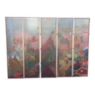 1930s Vintage Asian Acid Etched Art Deco Room Divider Screen For Sale