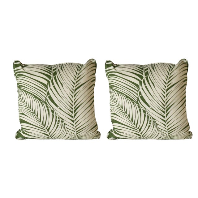 Pair of Kravet Bacularia Palm Print Pillows For Sale - Image 4 of 4