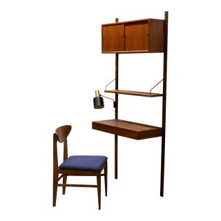 1960s Royal System Cado Modular Teak Wood Floating Wall Unit Desk and Chair - Set of 7 For Sale