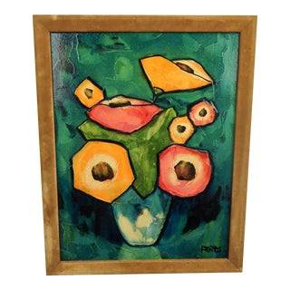 Mid-Century Abstract Florall Still LIfe, by Roberta Ferris For Sale