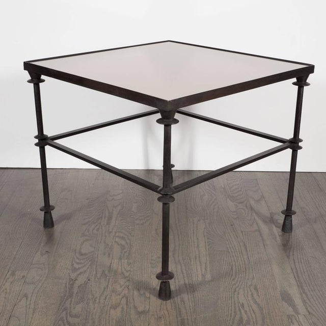 Contemporary Iron Cocktail Table With Inset Bronze Mirror For Sale - Image 3 of 7