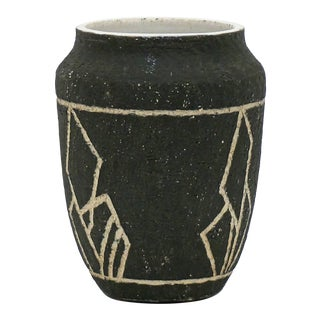 Mid Century Dutch Black & White Pottery Vase For Sale