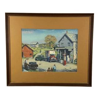 1940s Vintage Harry Shokler Pinkerton's Corner Original Painting For Sale