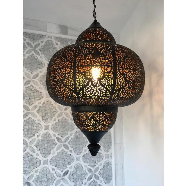 Boho Chic Kasbah Metal Lantern For Sale - Image 3 of 4