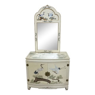 Hand Painted Asian Style Chest With Matching Mirror For Sale