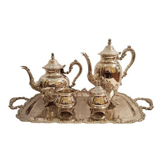 Vintage Oneida Silversmiths Silver Plate Coffee, Tea, Cream, Sugar W/Lid and Tray - Set of 5 For Sale