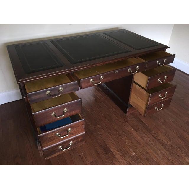 Vintage Ethan Allen Leather Top Executive Desk Image 7 Of 11