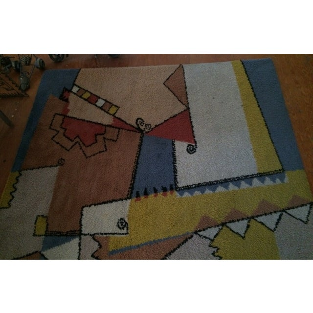 "Vintage Mid-Century Abstract Area Rug - 7'6""x5'5"" For Sale In Las Vegas - Image 6 of 8"