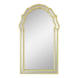 Vintage Green LaBarge Arched Mirror For Sale