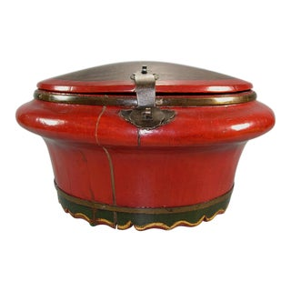 19th Century Antique Chinese Red Lacquer Wood Wedding Bucket / Barrel For Sale