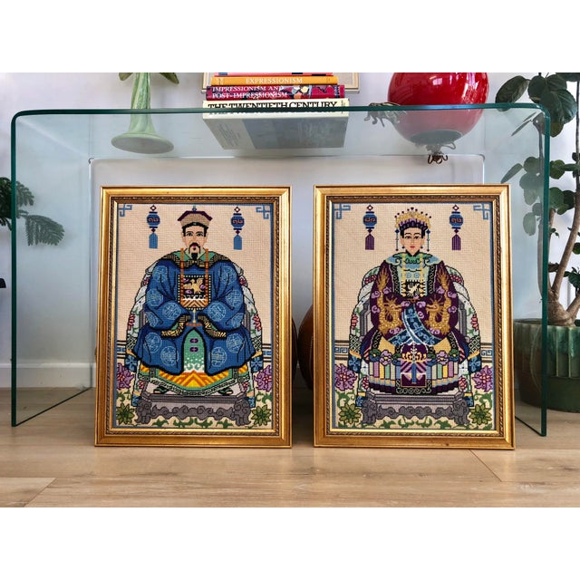 Blue Vintage Chinoiserie Chinese Ancestor Portraits Framed Needlepoints - a Pair For Sale - Image 8 of 8
