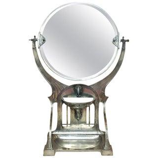 1900 Antique German Jugenstil Grand Silvered Table Vanity Mirror For Sale