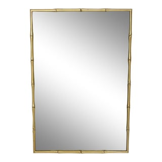 Hollywood Regency Faux Bamboo Brass Mirror Frame For Sale
