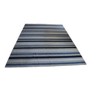 Jaipur Living Pura Vida Handmade Flat Weave Stripe Blue Rug - 9′ × 12′