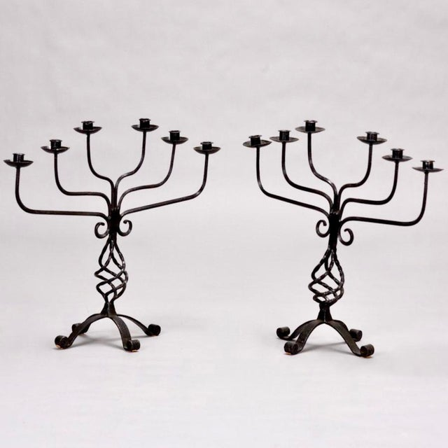 Pair Large French Six Light Black Hand Forged Iron Candelabra - Image 4 of 6