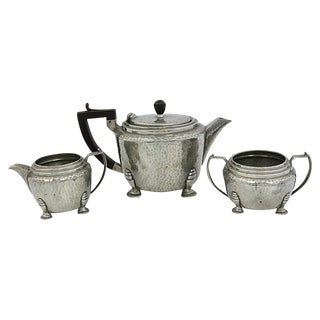 Art Deco Hammered Pewter Tea Set, 3-Pieces For Sale
